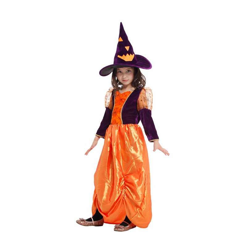Umorden Halloween Purim Carnival Cute Orange Pumpkin Witch Sorceress Girl Costume Cosplay Party Masquerade Fantasia Dress G-0164