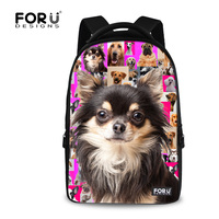 FORUDESIGNS New Casual Women Backpacks Cute Animal Pug Dog Printing Backpack For College Student Large Laptop