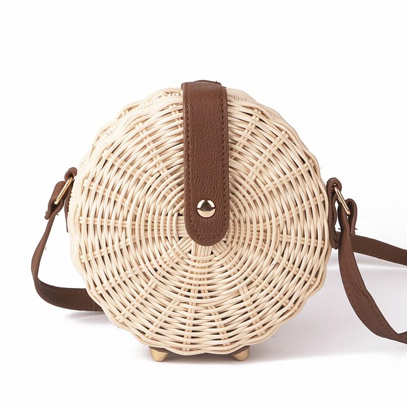 NEW 2018 Women Handmade Round Beach Shoulder BagHandmade Rattan Woven Round <font><b>Handbag</b></font> Knitted Messenger Bag Summer Beach Tote