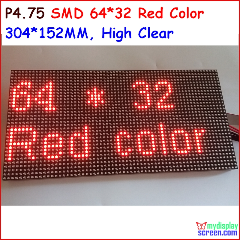 P4.75 Matrix Led Module,monochrome Red Color,top1 For Text Display,304* 152mm,64 * 32 Pixel, Hub08 Port,red New Smd Panel