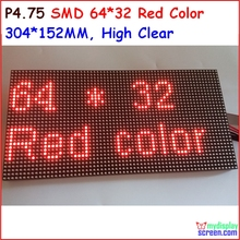 P4.75 матричный светодиодный модуль, монохромный красный цвет, top1 для отображения текста, 304*152 мм, 64*32 пикселей, hub08 порт, красный новый smd панели