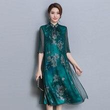 a63b72d3c Menta verde verão vestido de seda real chiffon curto flor impressão floral  mulheres robe Chinês elegante do vintage plus size ro.