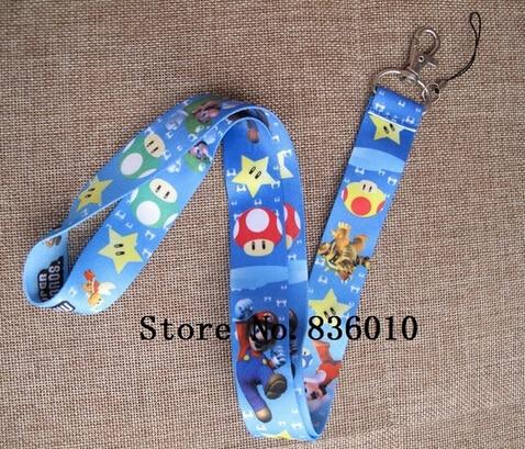 Retail 1 Pcs Cartoon Super Mario  Neck  Lanyard Key Chains Gifts Party Favors DD-25