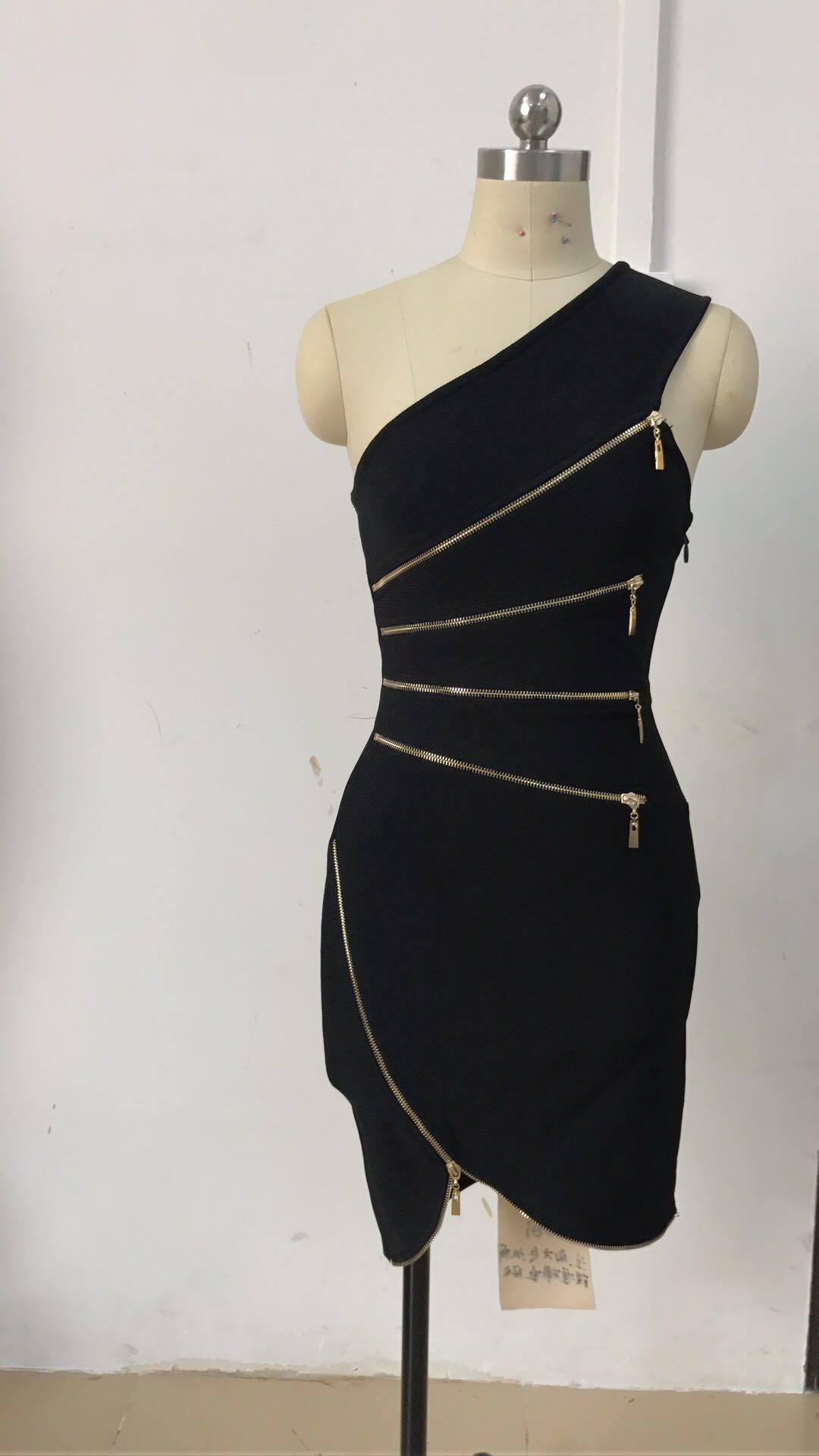 2019 nueva moda alta calidad elegante un hombro sin espalda sin mangas negro Sexy fiesta mujeres Mini rayón vendaje cadera vestido - 3