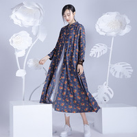 ORIGOODS Chinese Style Flower Print Women Long Shirt Blouse Spring Summer Casual Floral Womens Tops And