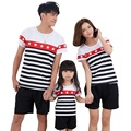 Familia de rayas A Juego de Ropa Ropa de Algodón Padre E Hijo Madre E Hija Coincidencia Trajes A Juego de la Familia t Shirt Set