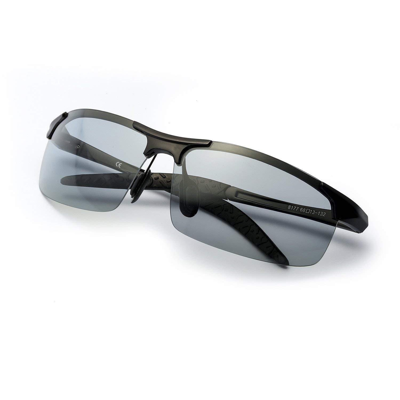 2019 Photochromic Polarized Semi-Rimless Sunglasses Driver Rider Sports Goggle Chameleon Change Color Glasses Men Women 8177