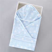 Star Hooded Newborn Baby Swaddle Blanket Summer Thin Sleeping Bath Towel Cotton Infant Wrap Sleepsack 5 Colors
