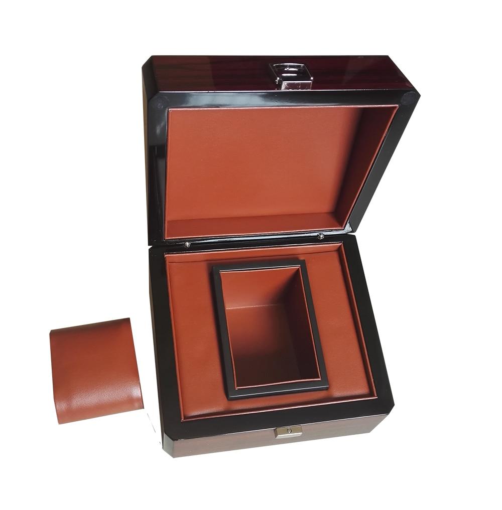 Boîte de montre en laque brillante à rayures en bois et étuis boîte de Promotion personnalisée bijoux cadeau boîtes d'affaires LOGO personnalisé livraison directe WB1011 - 3