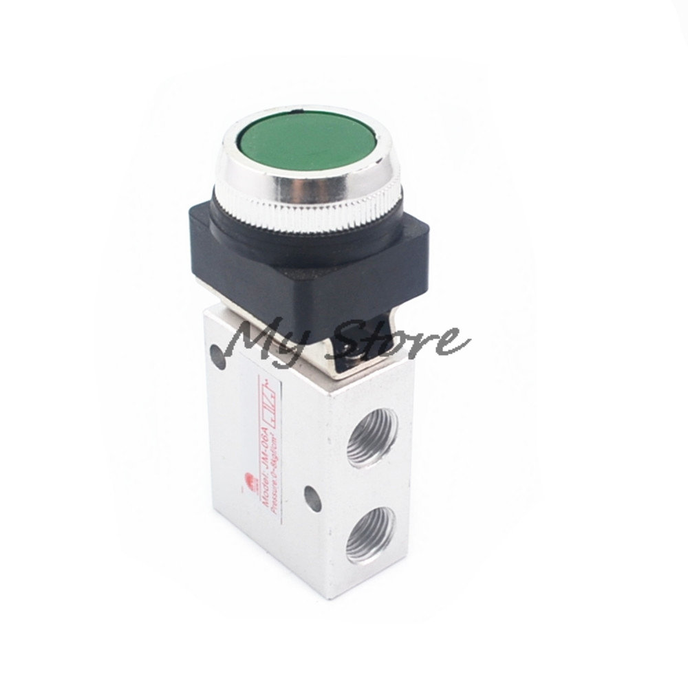 JM-322PP 13mm Thread 3/2 Way Green Flat Push Button Pneumatic Mechanical Valve 1 3 10 male thread push button type toilet flush valve zmm