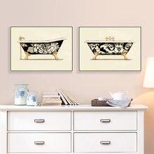 Bañera baño arte impresiones decoración de pared Retro Vintage Toliet Pared de habitación pintura decorativa HD2568