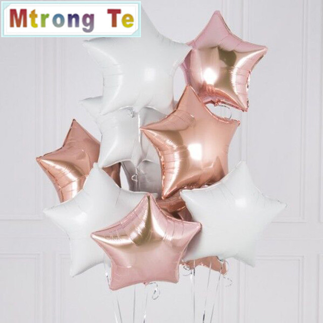 12PCS 18 Inch Pink White Rose Gold Star Helium Foil Air Balloons Happy Birthday Party Supplies