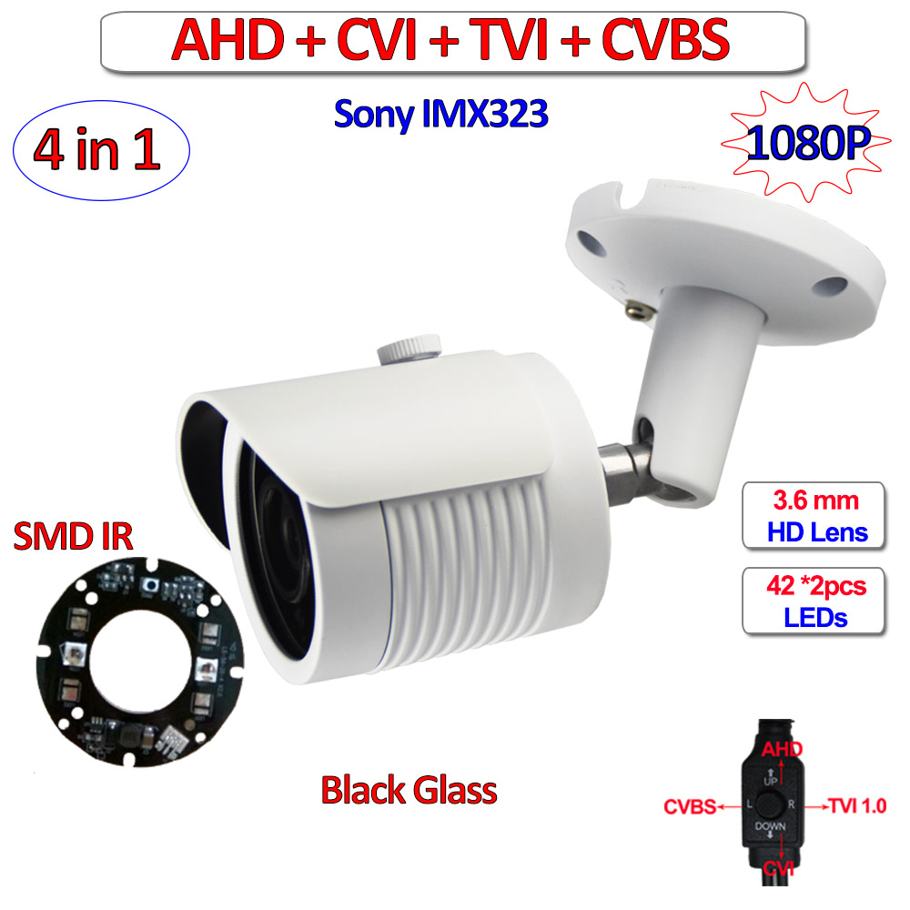 CVI TVI cctv outdoor camera 1080P AHD H L IMX323 security product, 960H, OSD menu, SMD IR LEDs, HD Lens, DWDR, 3-Axis bracket 5mp tvi 4mp ahd cvi imx326 cmos security camera 4in1 surveillance cameras ir cut dnr utc osd varifocal lens smd ir leds