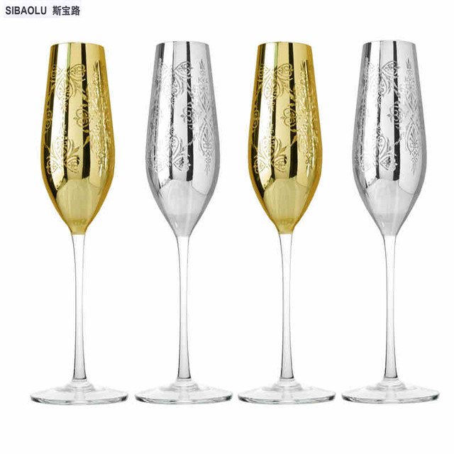 Champagne Glass Wedding Wine Glasses Golden And Silver Carved Crystal Wine Cups Party For Wedding Champagne
