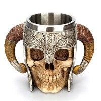 Creative Stainless Steel Skull Viking Ram Horned Beer Mug Resin Goat Horns Handled Coffee Mug Bar Drinkware Halloween Gift
