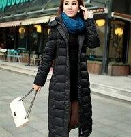 Для женщин зимнее пальто длинный пуховик Для женщин тонкий длинный теплая плотная куртка плюс Размеры 3XL Для женщин с капюшоном зимняя курт