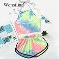 Conjuntos de duas peças femininas verão halter curto pantsshein colorido sem costas colheita topo sexy calças quentes suor 2020 conjunto femme
