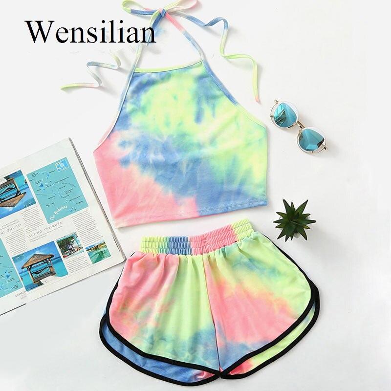 Two Piece Women's Sets Summer Halter Short Pantsshein Colorful Backless Crop Top Sexy Hot Pants Sweat 2020 Ensemble Femme