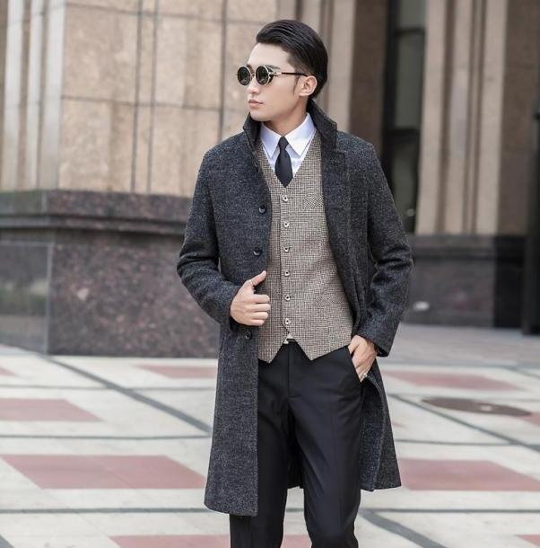 Grey Mens clothing long wool coat men grey single breasted coat ...