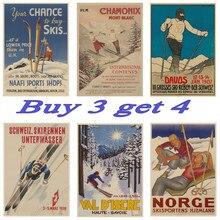 Cartel de esquí de Austria, Zelanda, Vintage, resorts de esquí CHAMONIX, carteles de Papel Kraft para viajes, DIY, pared, carteles para Bar, decoración del hogar, regalo