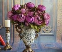 2017 mới Châu Âu Silk Flowers 1 cái Bouquet Nhân Tạo Mùa Thu Sống Động Hoa Mẫu Đơn Fake Leaf Trang Trí Tiệc Cưới Nhà