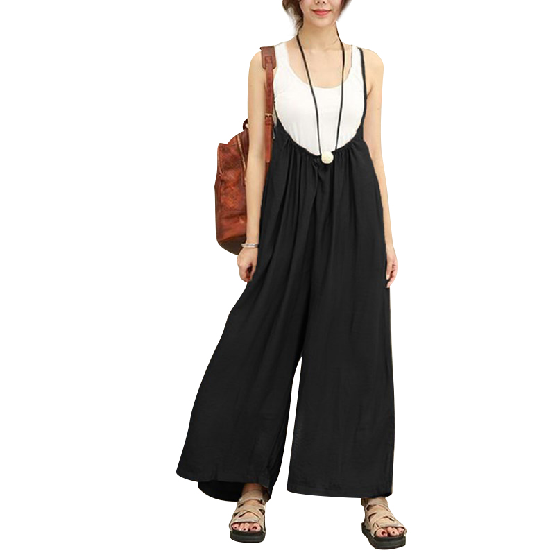 Women Solid Wide Leg Pants Sleeveless Dungarees Ladies Casual Cotton Linen Spaghetti Straps Jumpsuits Long Trousers Rompers