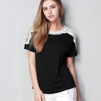 Moda yeni dantel dikiş gevşek siyah tişört Rahat yuvarlak boyun kısa kollu büyük boy kadın t-shirt tops L-5XL