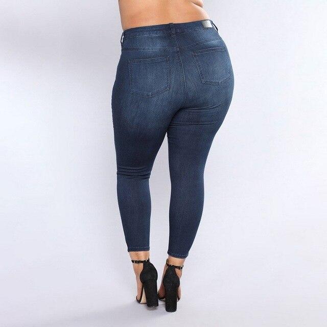 5e33a1a216d7cf CALOFE Lato 2018 Lady Kobiet Rock Spodnie Jeansowe Spodnie Skinny wysoka  Talia Jeans Kobiet Plus Size
