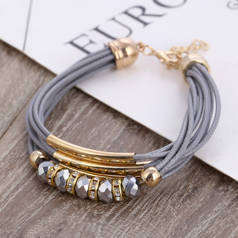 Bracelet Wholesale 2019 New Fashion Jewelry Leather Bracelet for Women Bangle Europe Beads Charms Gold Bracelet Christmas Gift