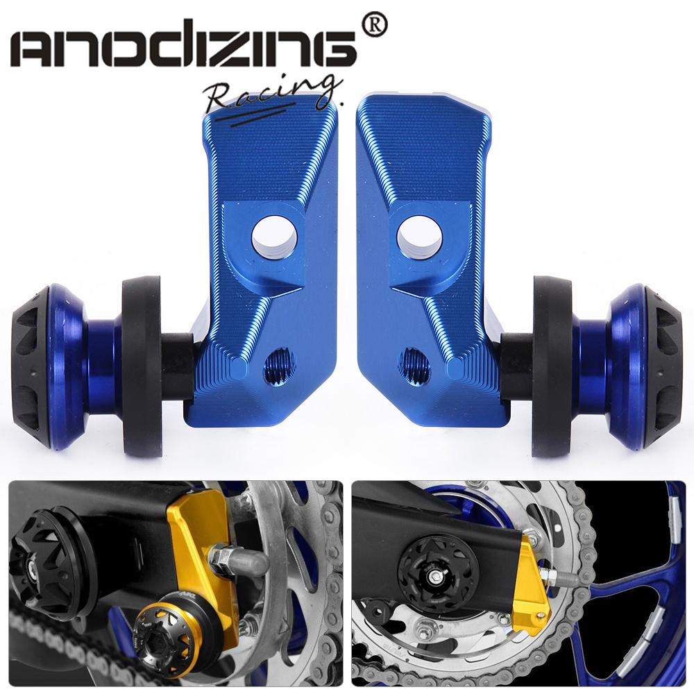 NEW Chain Adjuster Blocks with Spool Sliders Kit Motorcycle For Yamaha YZF R3 MT-03 MT-25 15-16 Alloy CNC Rear Axle Spindle цена и фото
