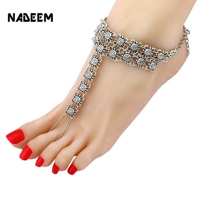 anklet foot for anklets coin shijie ankle sandals bracelet summer barefoot femme charm item jewelry vintage women silver chain