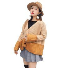 И зимой случайный с длинными рукавами вязаный свитер куртка, Корейская  версия свободные карман, женская 508e6fe3d89
