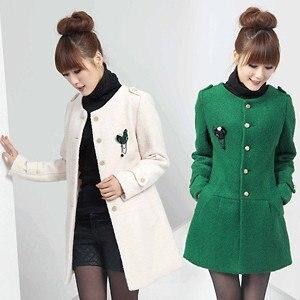 Free shipping 2013 winter slim korean style single breasted women's wool coat