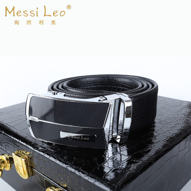 Messi Leo 2017 Men Belts Genuine Leather Belt Cowskin High Quality Automatic Buckle Fashion Casual Soild Belt For Men