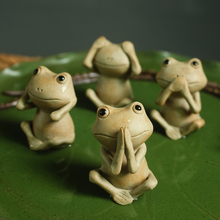 Lovely Animal Frog Tea pet figurines Ceramic common pond frog Arts and Crafts fairy garden Mini miniatures home decor gifts