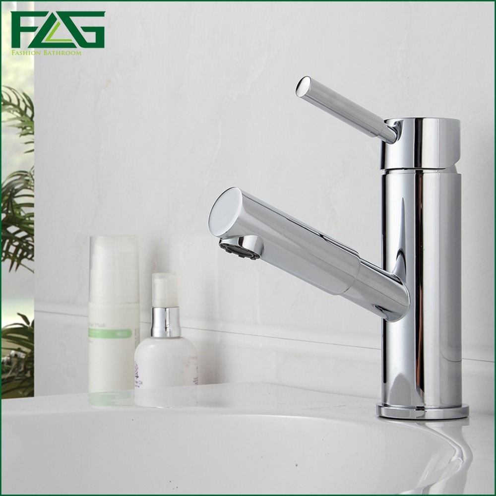 ФОТО FLG Basin Faucet Chrome Cast Rubinetto Pull Out Deck Mounted Bathroom Single Faucets Basin Cold & Hot Torneira Monocomando M201
