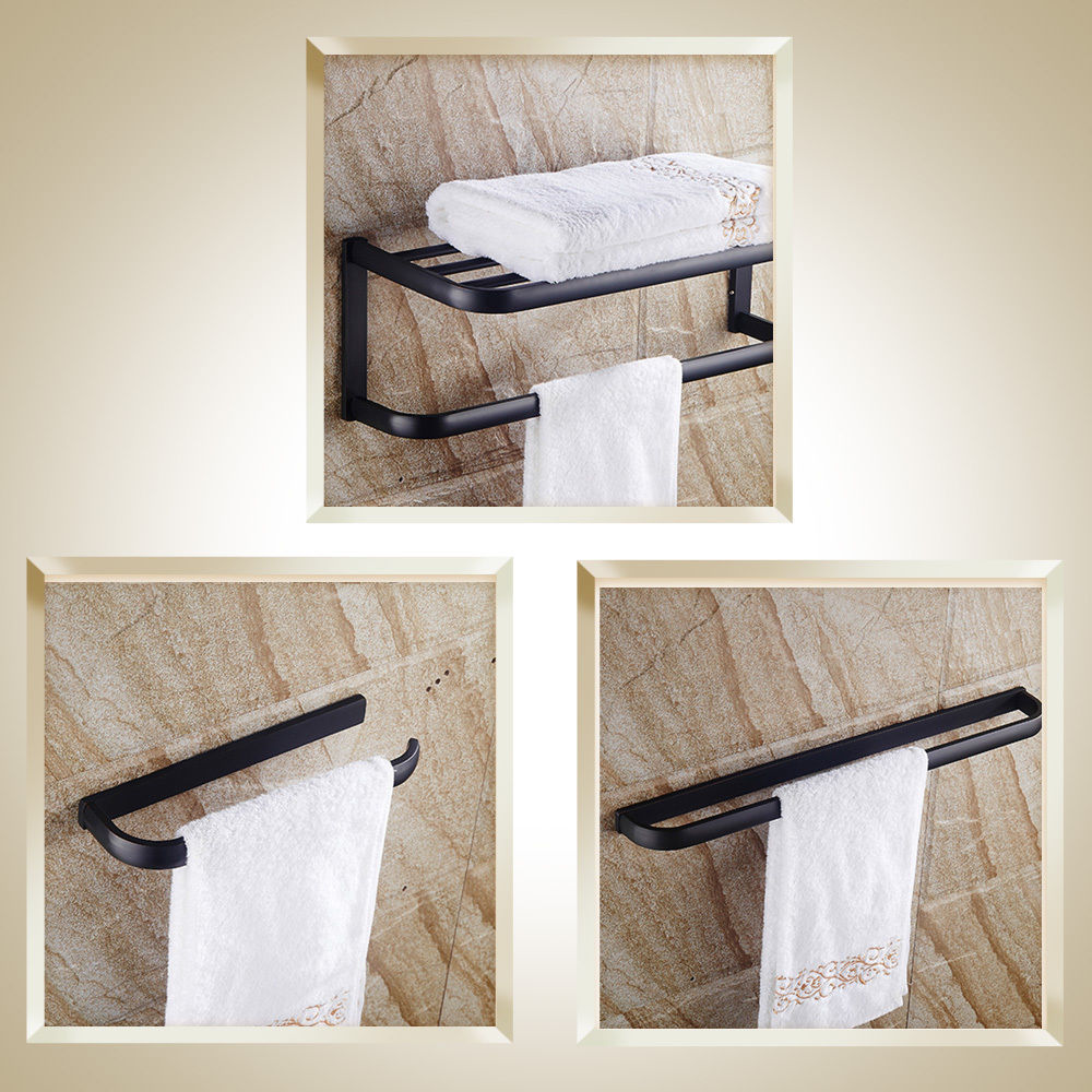 NEW Thickened Solid Brass Towel Rack Single Towel Bar Towel Ring BlackNEW Thickened Solid Brass Towel Rack Single Towel Bar Towel Ring Black