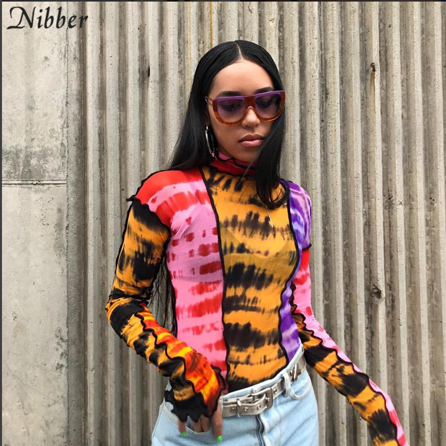 Nibber Fashion Mesh Colorful Print Ruffle Tops Womens Basic T-shirts2019autumn Hot Sale Thin Slim Street Casual Tee Shirts Mujer