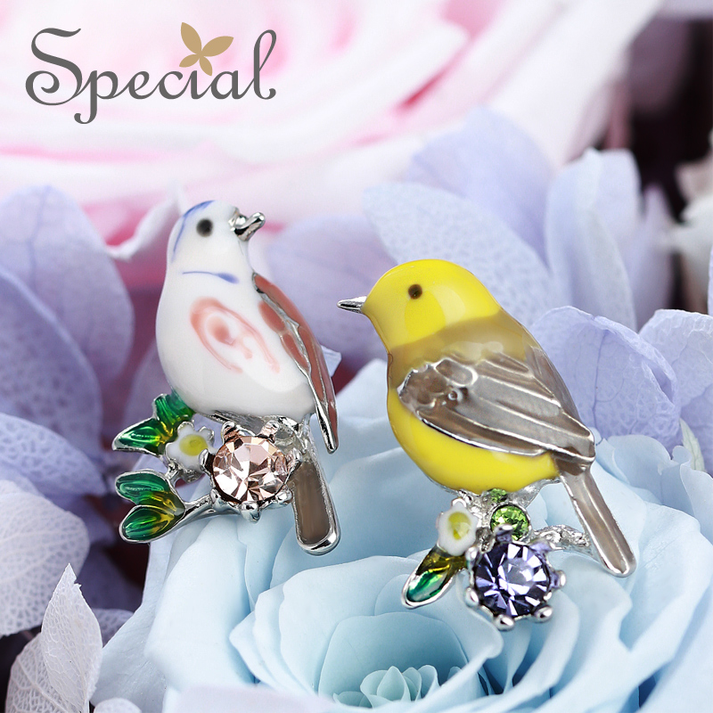 Специальные Новая мода эмаль Серьги-гвоздики Прекрасный Птица уха Шпильки животного Стразы Jewelry 2017 подарки для Для женщин s1624e