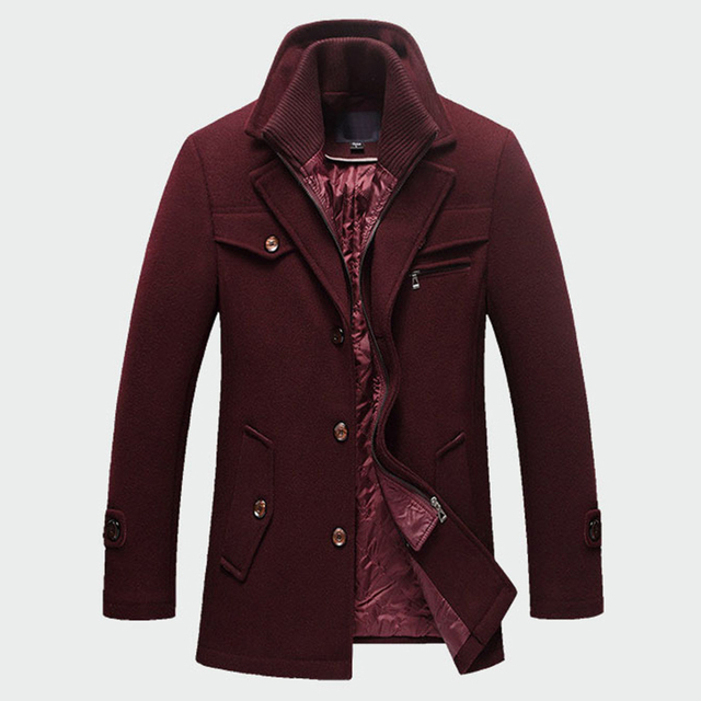 Winter Mens Thick Coats Slim Fit Jackets Mens Casual Warm Outerwear Jacket and Coat Male Peacoat Men Brand Clothes M-4XL ML095