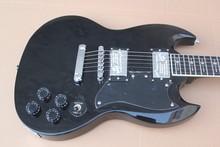 2017NEW! 뜨거운 판매 토니 Lommi 서명 chibson SG 일렉트릭 기타 블랙 컬러 횡단 속지 중국 악기 재고 있음