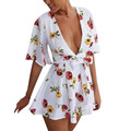 Jumpsuit bodysuit women Printing Deep V Neck Sexy Fashion Half Sleeve Short Rompers Playsuit 2017 For Beach Club Evening Party