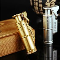Honest Retro Pure Copper Coal Oil Cigar Lighters Creative Windproof Lighter Have Gold Silver Color