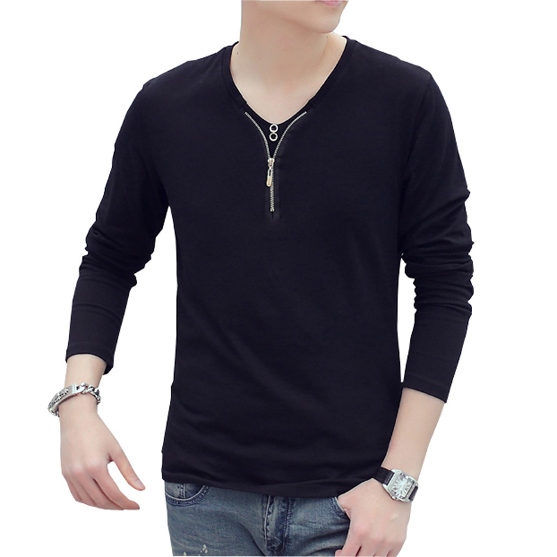 New design special zipper button collar mens t shirts for V neck t shirts with designs
