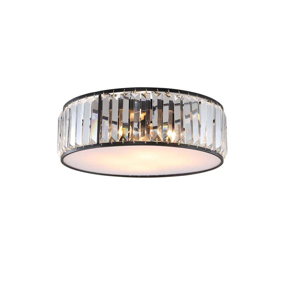 ECOBRT American Round crystal ceiling lights for living room ceiling lamp rustic style restaurant bedroom lighting fixtures E27 chandeliers lights led lamps e27 bulbs iron ceiling fixtures glass cover american european style for living room bedroom 1031