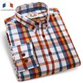Langmeng brand 100% cotton hot selling men plaid shirts male spring autumn long sleeve fashion casual shirt  Chemise Homme