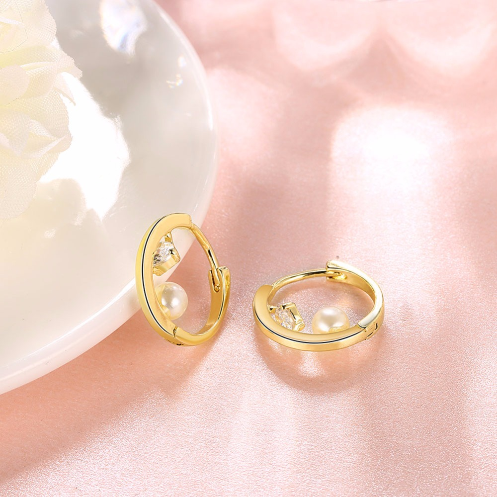 Fashion Round Ball Crystal Zirconia Jewelry Gold Color Hoop Earrings ...