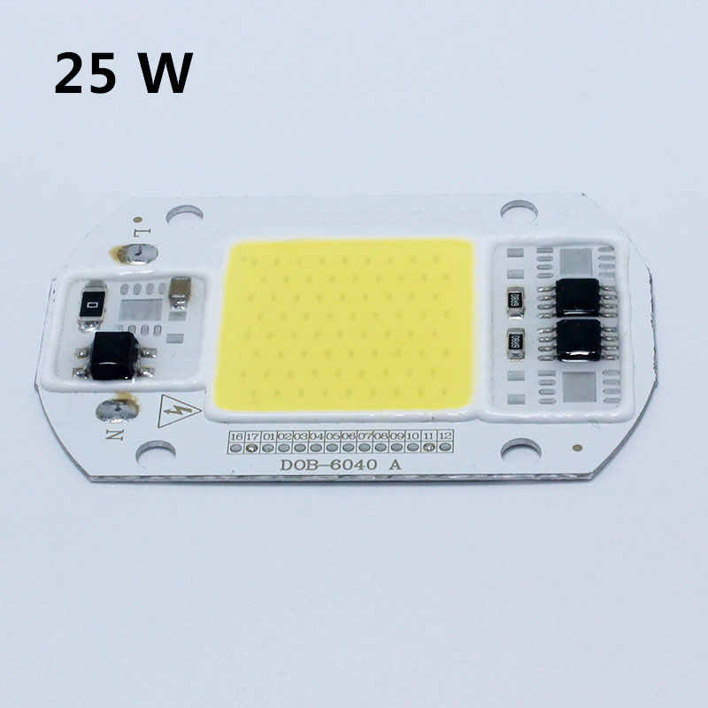 Bombilla LED COB Chip 15 W 25 W 40 W 50 W LED Chip 110 V 220 V de entrada IP65 inteligente IC Fit para DIY LED Luz de inundación blanco frío blanco cálido
