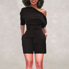 2018 Hot Sale Women s Summer Jumpsuit Sexy Off Shoulder Ruffle Short Romper Fashion Casual Party