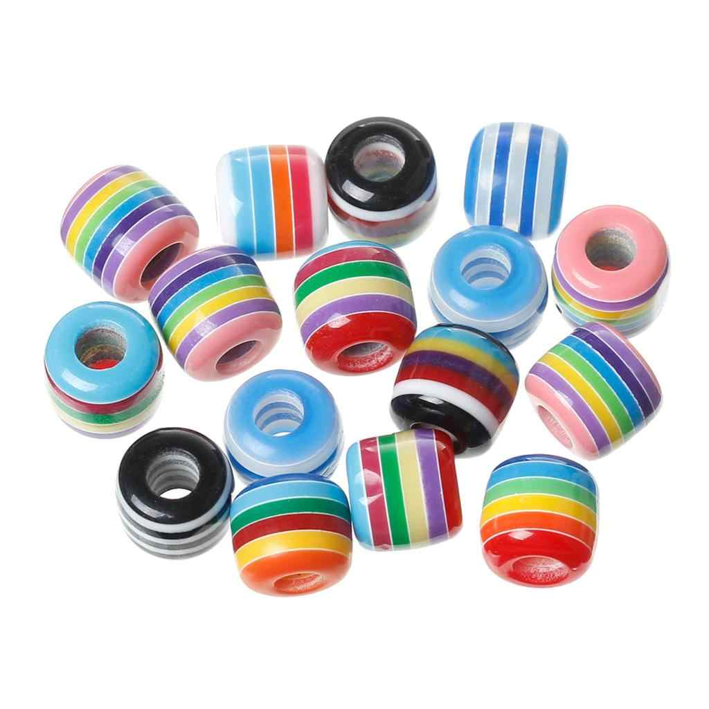 "European Style Charm Resin Beads Cylinder Mixed Stripe Pattern About 12mm(4/8"")x 11mm(3/8""),Hole: Approx 5mm,8 PCs new"